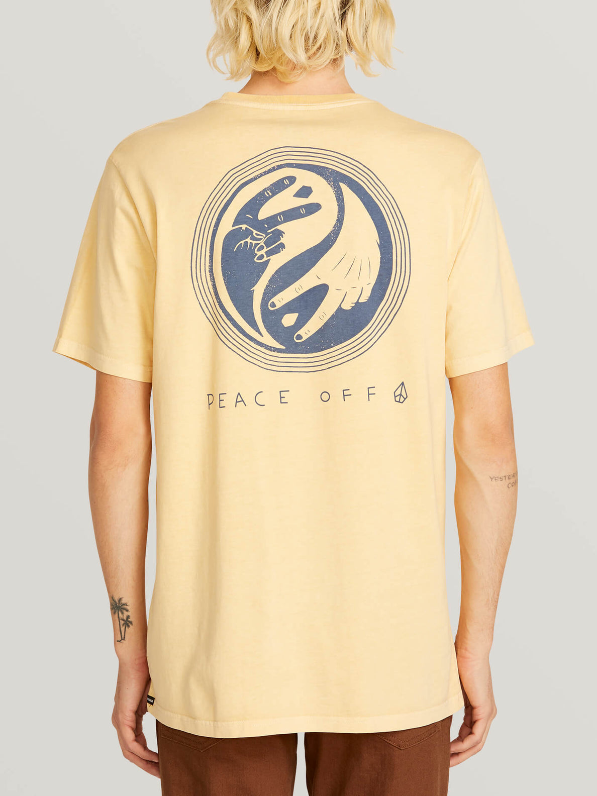 Peace Off Short Sleeve Tee In Light Peach, Back View
