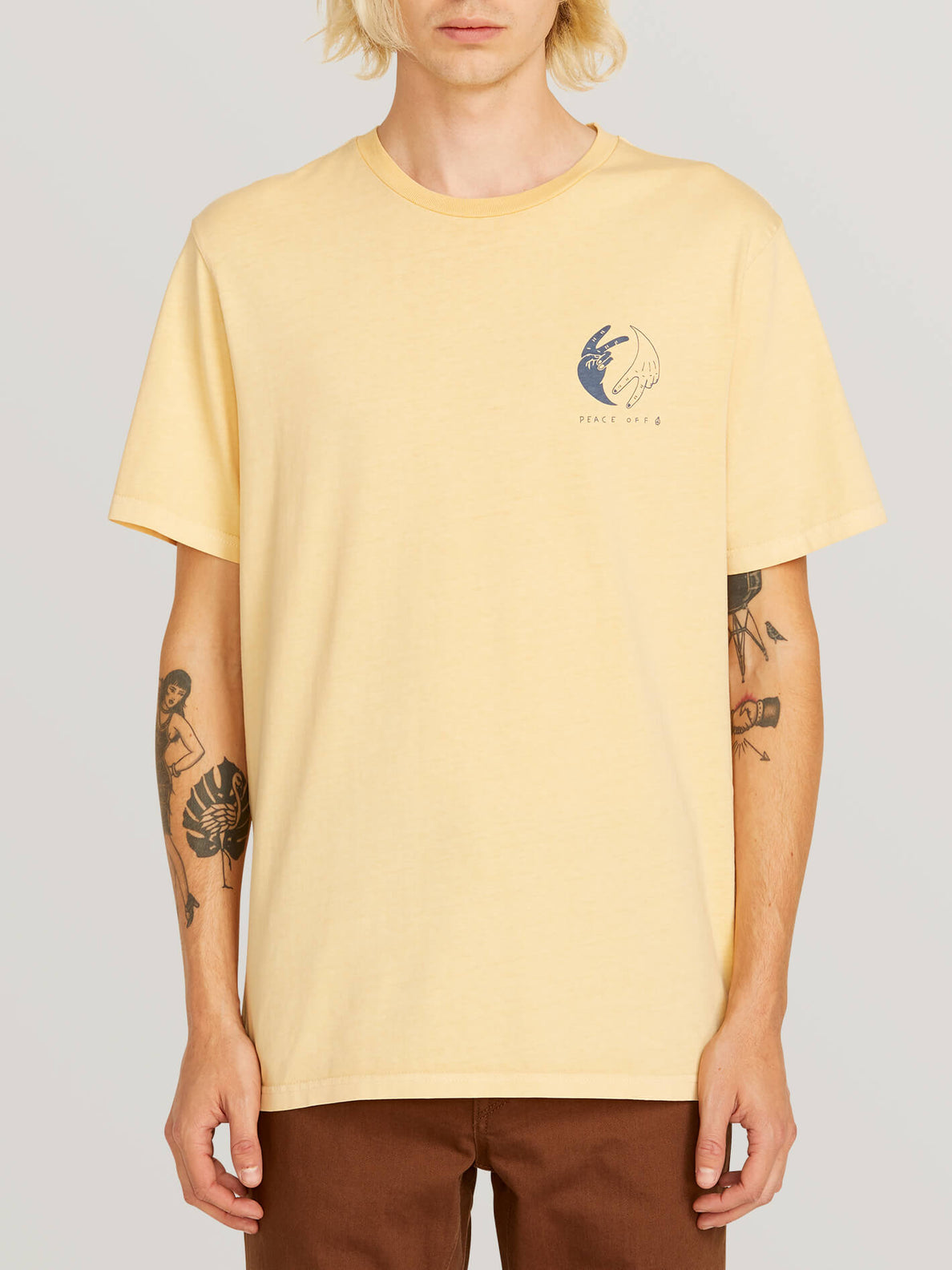 Peace Off Short Sleeve Tee In Light Peach, Front View
