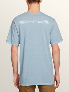 Peace Stone Short Sleeve Tee In Slate Blue, Back View