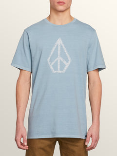 Peace Stone Short Sleeve Tee In Slate Blue, Front View