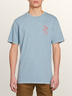Exoterica Short Sleeve Tee In Slate Blue, Front View