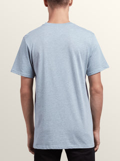 Pin Line Stone Short Sleeve Tee In Arctic Blue, Back View