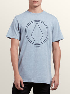 Pin Line Stone Short Sleeve Tee In Arctic Blue, Front View