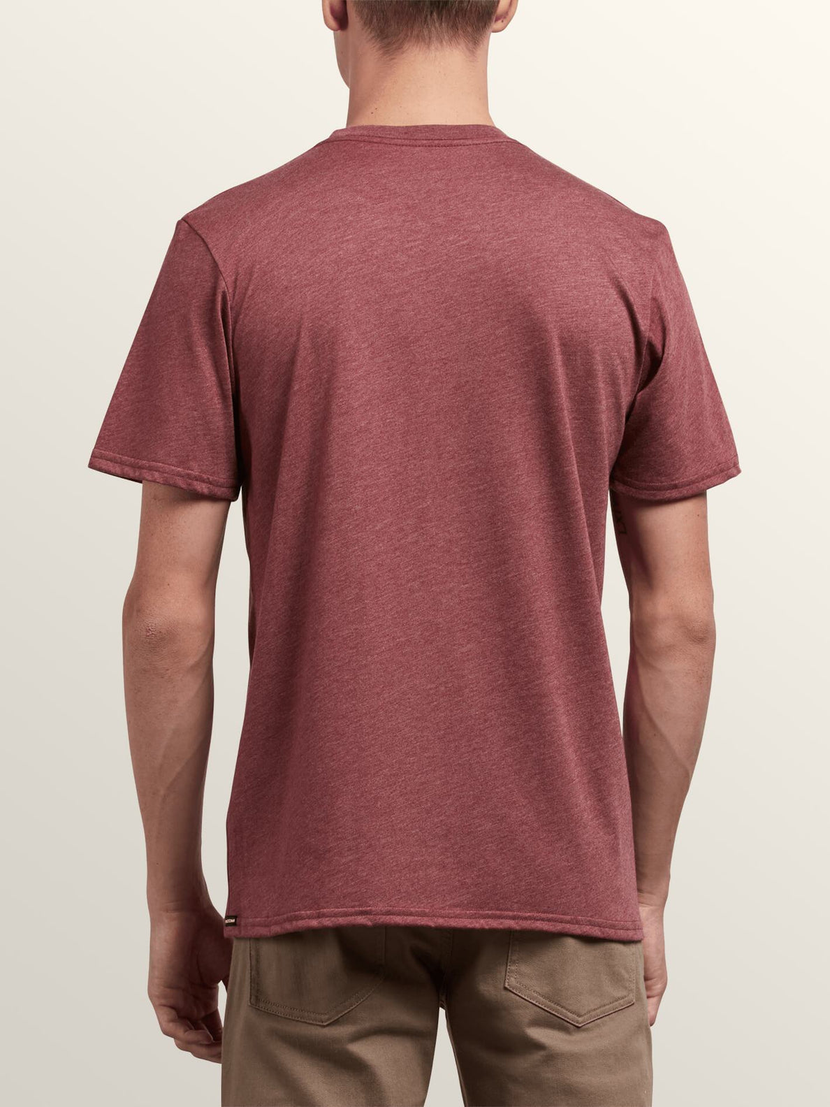 Pin Line Stone Short Sleeve Tee In Crimson, Back View