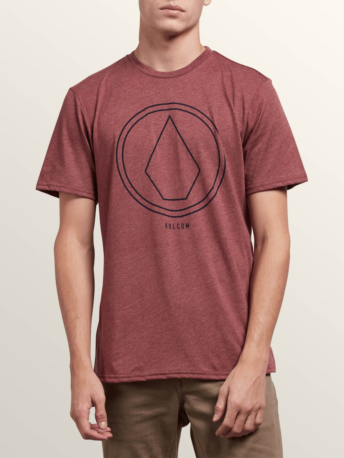 Pin Line Stone Short Sleeve Tee In Crimson, Front View