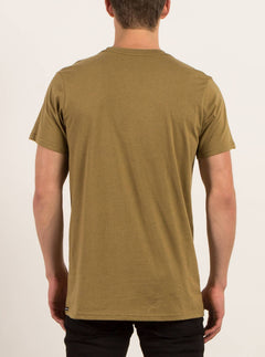 Pin Line Stone Short Sleeve Tee In Light Army, Back View