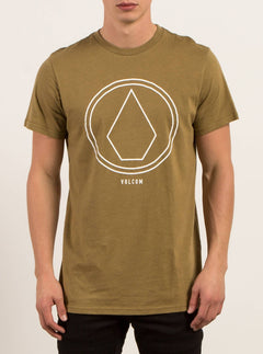 Pin Line Stone Short Sleeve Tee In Light Army, Front View