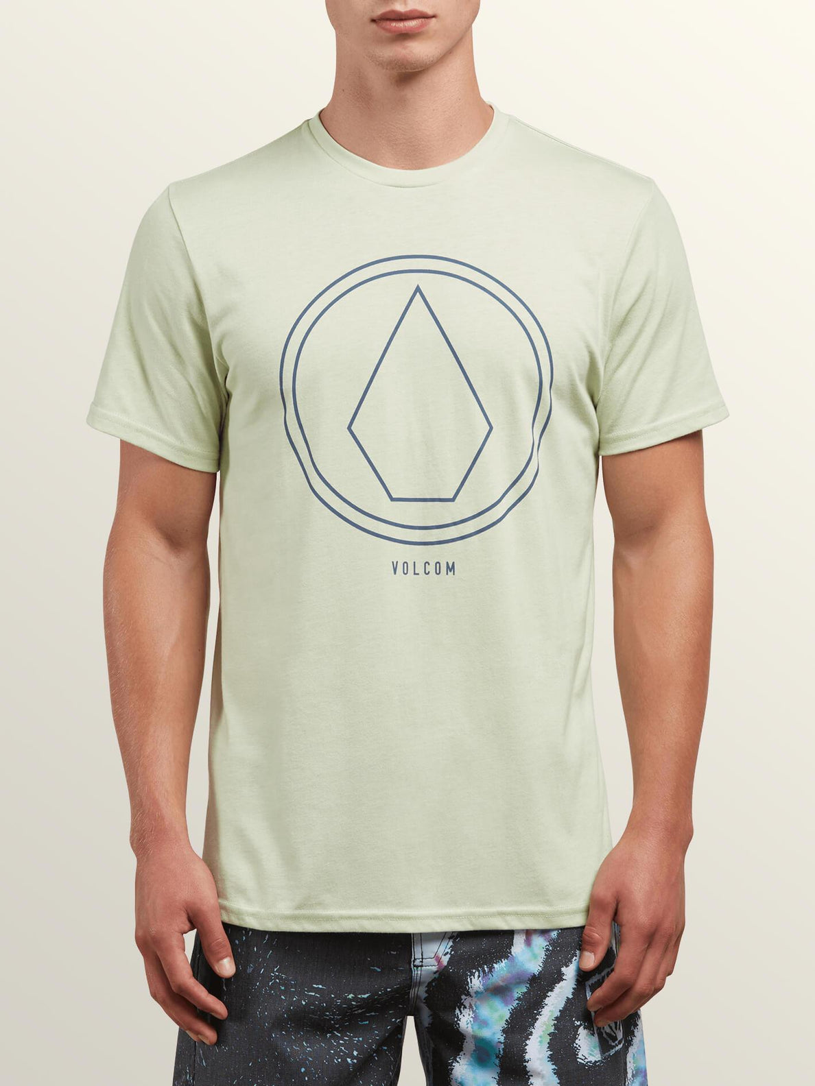 Pin Line Stone Short Sleeve Tee In Mist Green, Front View