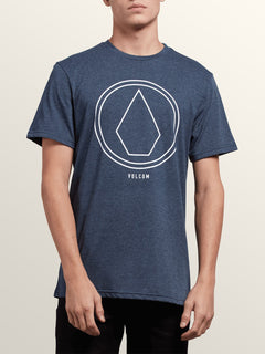 Pin Line Stone Short Sleeve Tee In Navy, Front View
