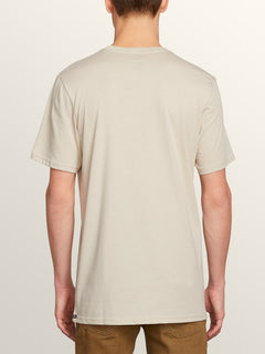 Pin Line Stone Short Sleeve Tee In Oatmeal, Back View