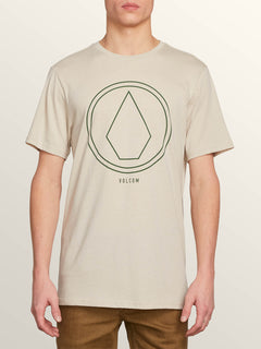 Pin Line Stone Short Sleeve Tee In Oatmeal, Front View