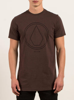Pin Line Stone Short Sleeve Tee In Plum Heather, Front View