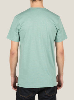 Pin Line Stone Short Sleeve Tee In Sea Blue, Back View