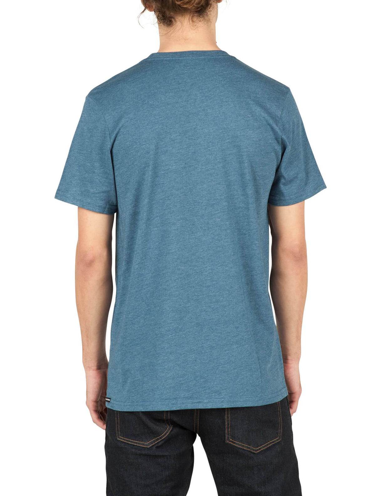 Pin Line Stone Short Sleeve Tee In Smokey Blue, Back View