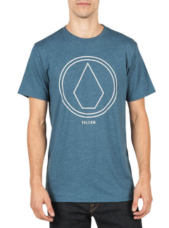 Pin Line Stone Short Sleeve Tee In Smokey Blue, Front View