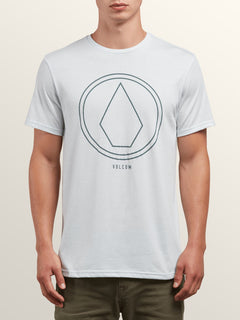 Pin Line Stone Short Sleeve Tee In White, Front View