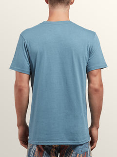Pin Line Stone Short Sleeve Tee In Wrecked Indigo, Back View