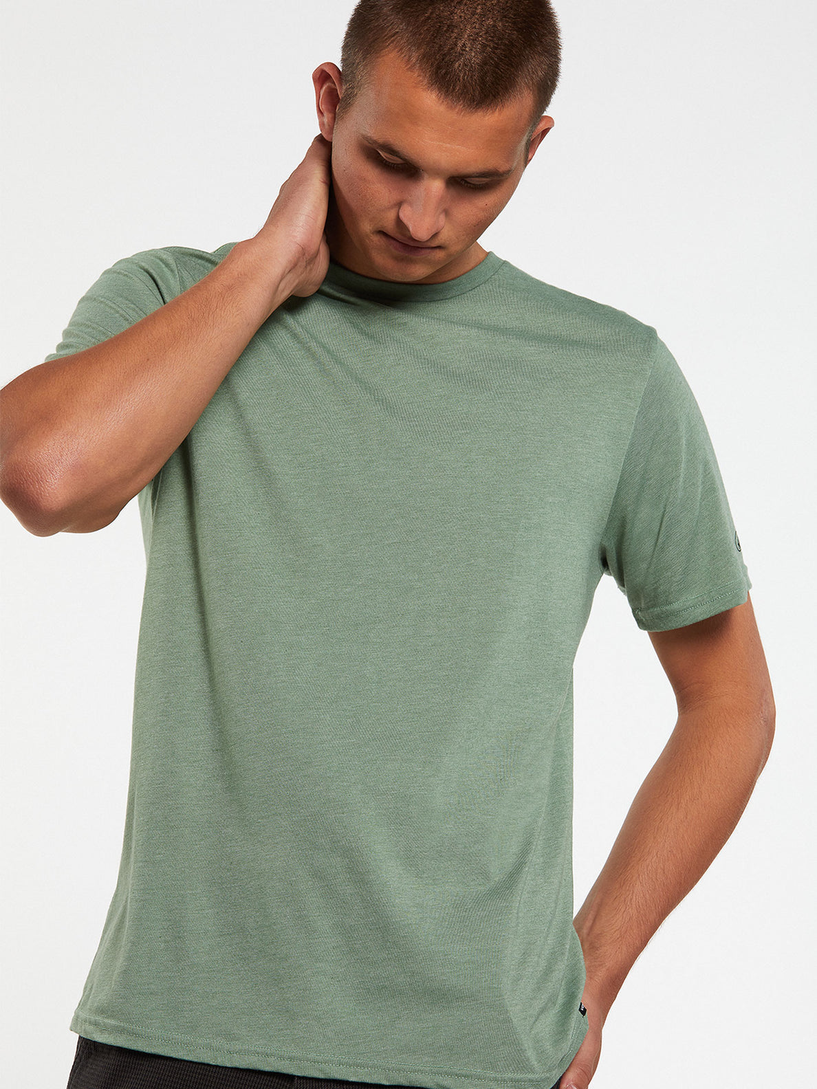 Heather Solid Short Sleeve Tee - Cactus Green (A5711705_CAC) [2]