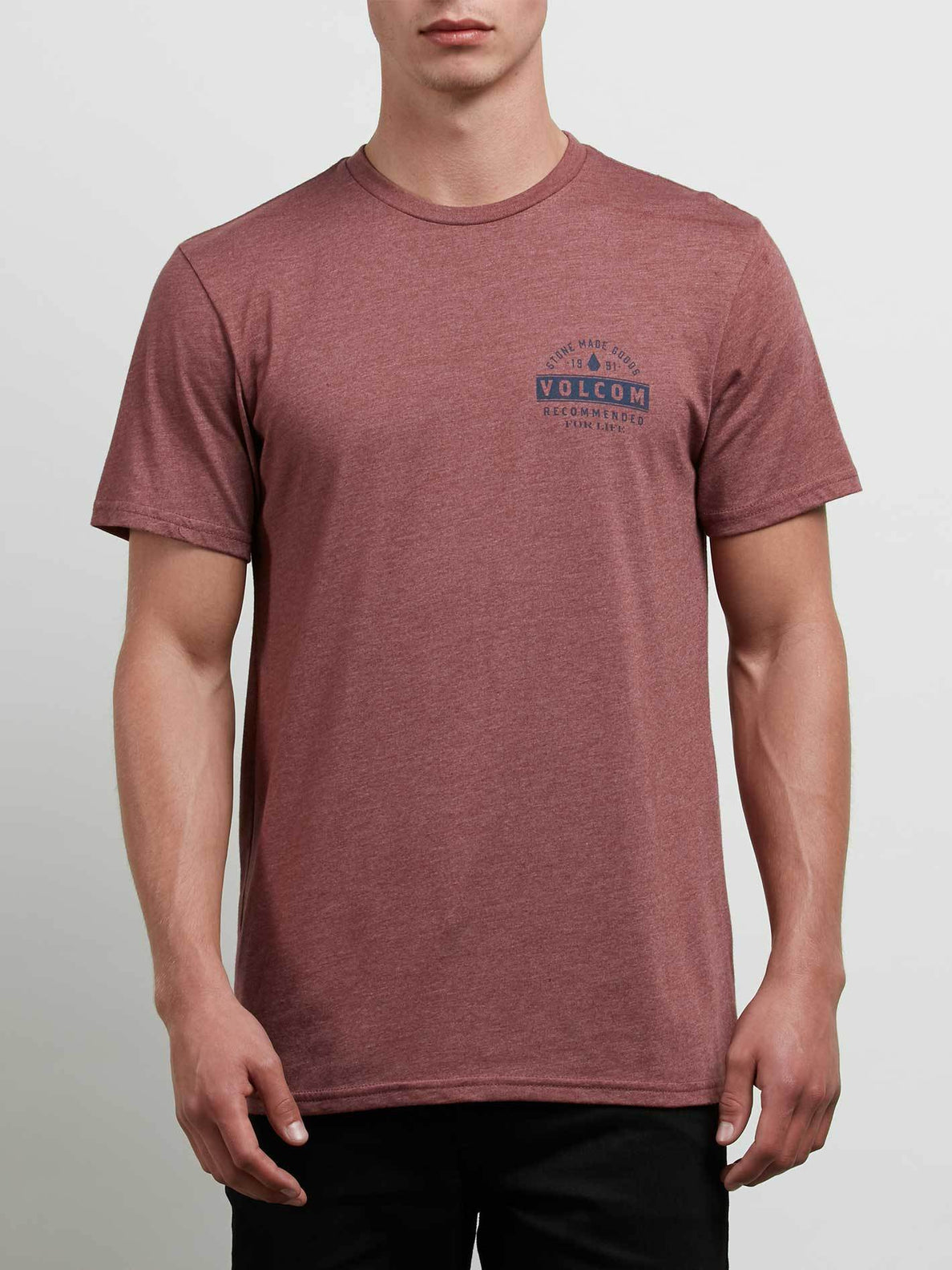 Barred Tee In Crimson, Front View