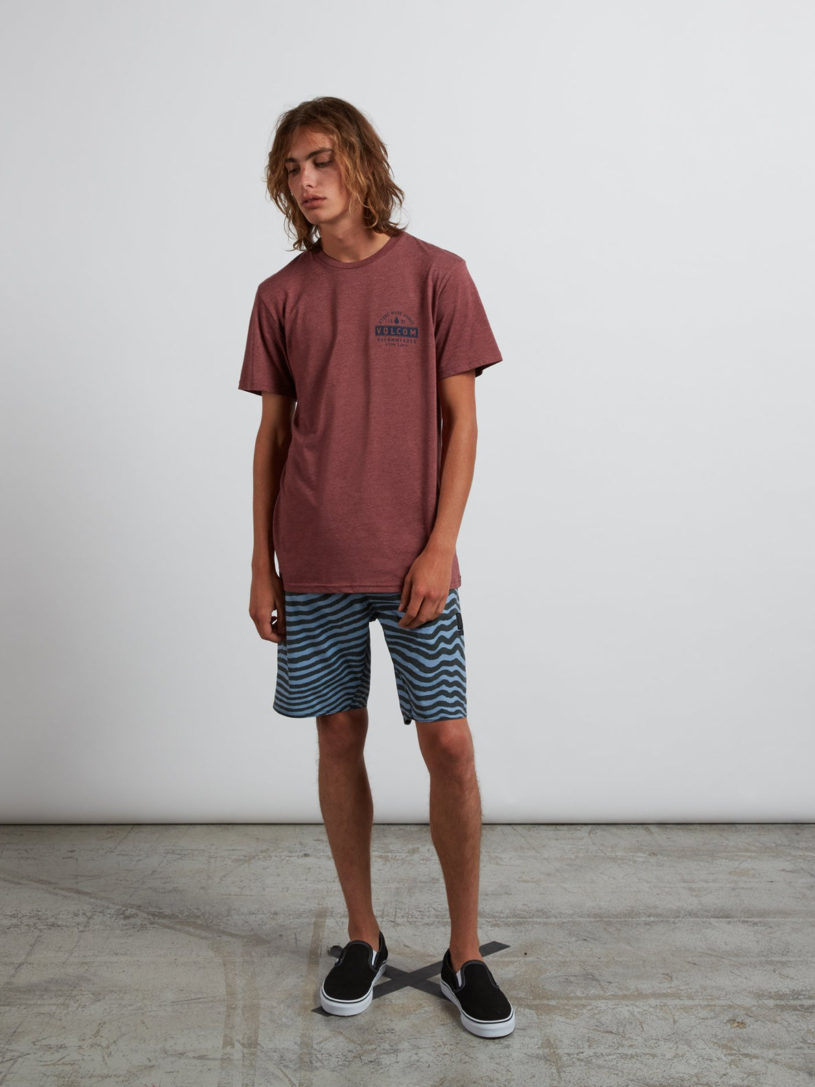 Barred Tee In Crimson, Wide View
