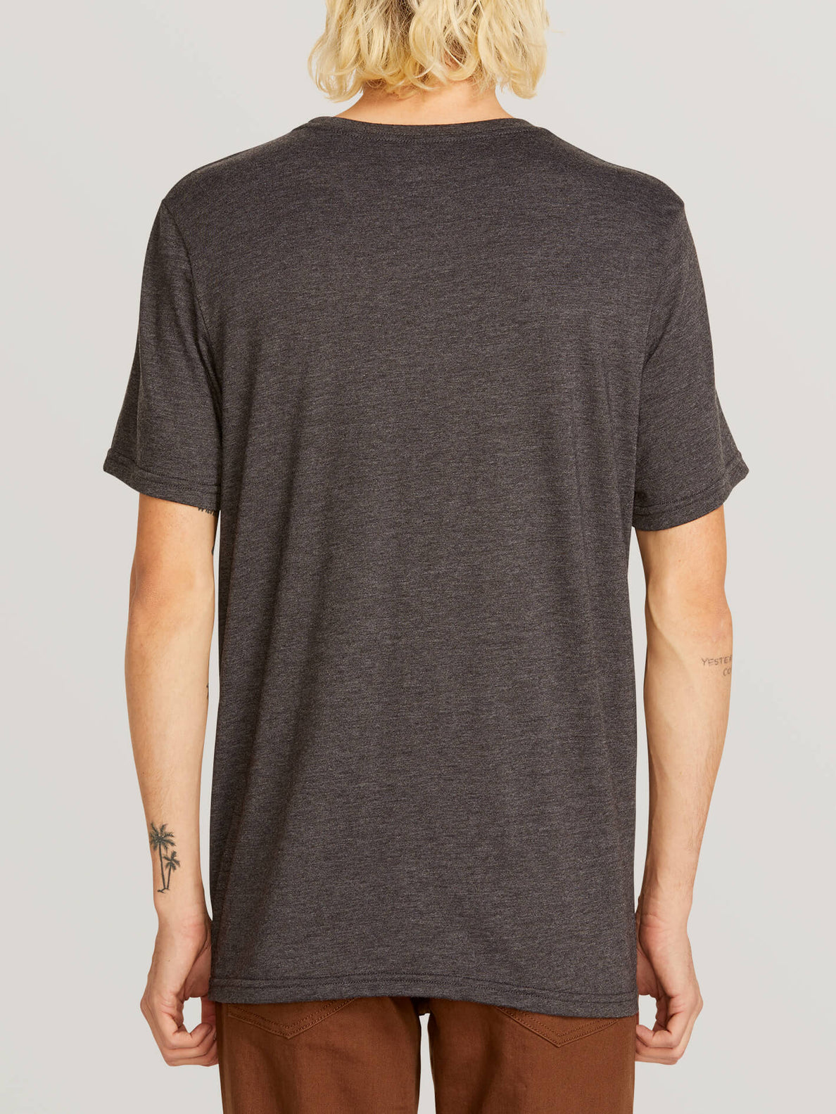 Chop Around Short Sleeve Tee In Heather Black, Back View