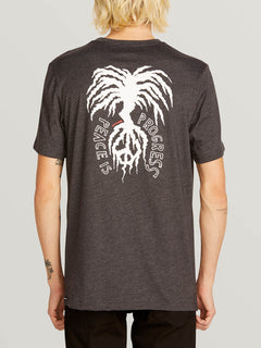 Peace Tree Short Sleeve Tee In Heather Black, Back View