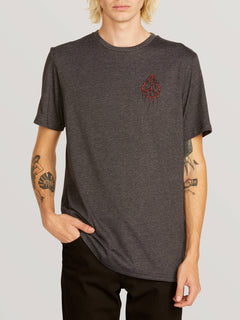 Peace Tree Short Sleeve Tee In Heather Black, Front View