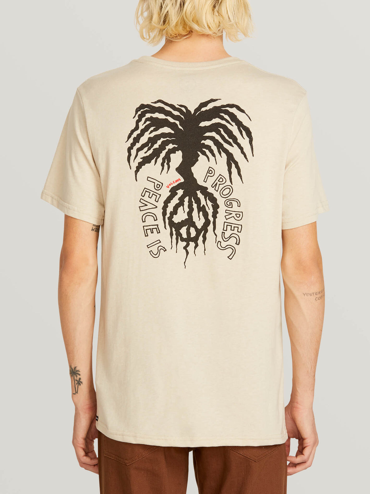 Peace Tree Short Sleeve Tee In Oatmeal, Back View