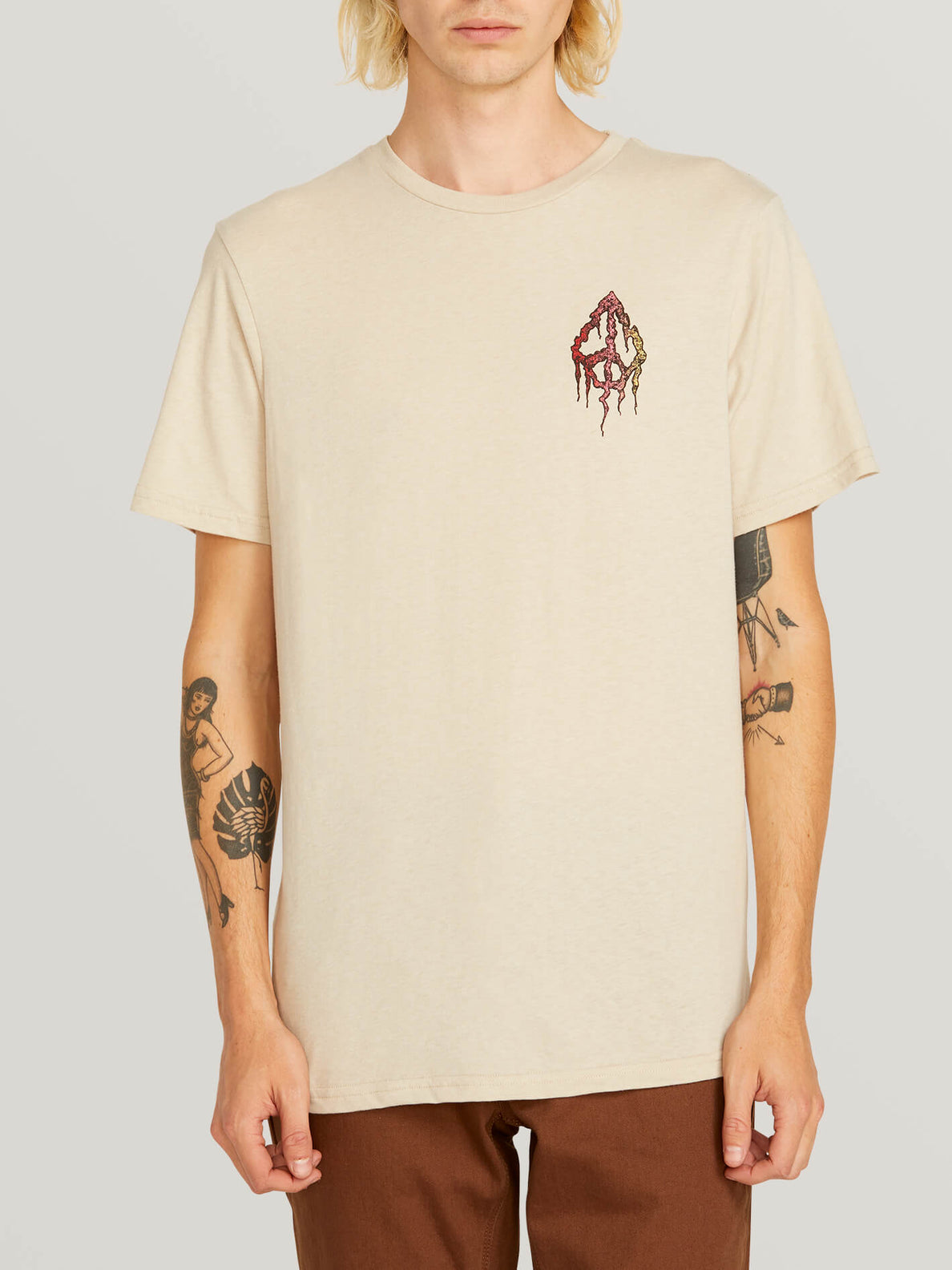 Peace Tree Short Sleeve Tee In Oatmeal, Front View