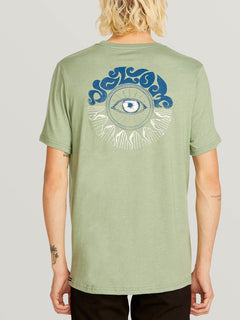Sunshine Eye Short Sleeve Tee In Dusty Green, Back View