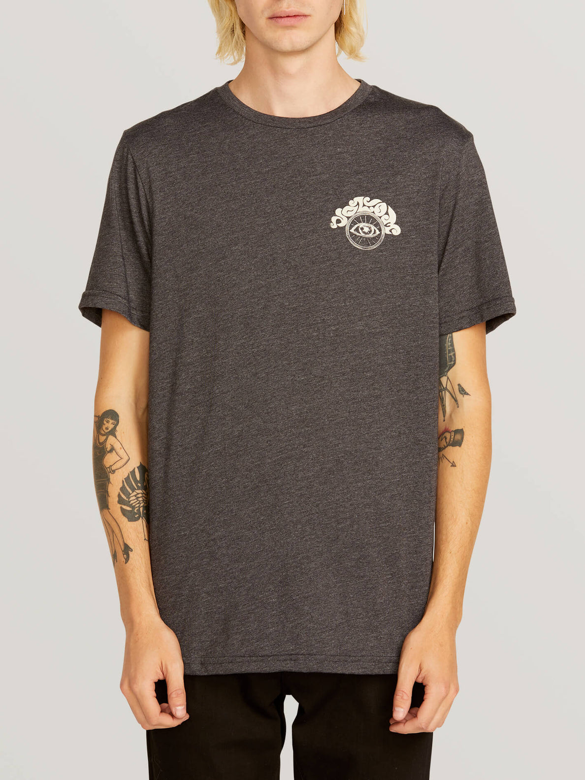 Sunshine Eye Short Sleeve Tee In Heather Black, Front View