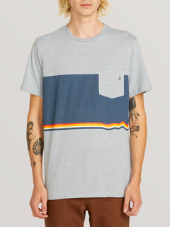 3 Quarter Short Sleeve Pocket Tee In Arctic Blue, Front View