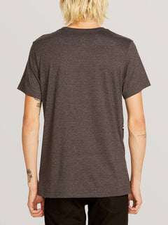 3 Quarter Short Sleeve Pocket Tee In Heather Black, Back View