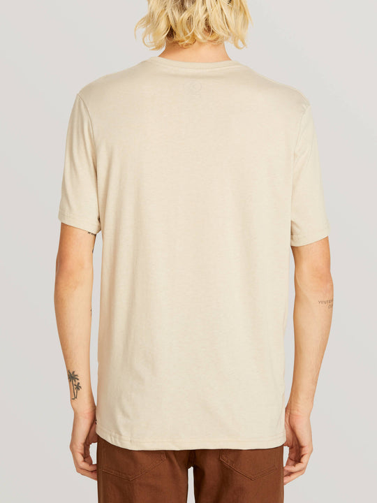 3 Quarter Short Sleeve Pocket Tee In Oatmeal, Back View