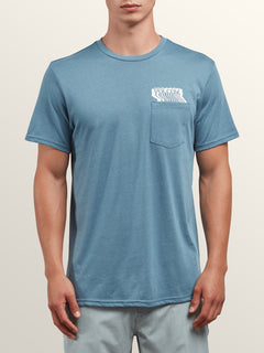 Bard Short Sleeve Pocket Tee In Wrecked Indigo, Front View