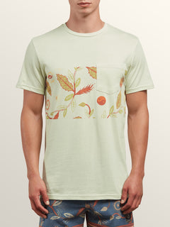 Sea-weed Short Sleeve Pocket Tee In Mist Green, Front View
