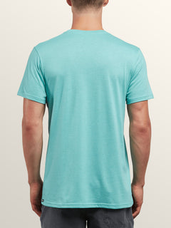 Sea-weed Short Sleeve Pocket Tee In Turquoise, Back View