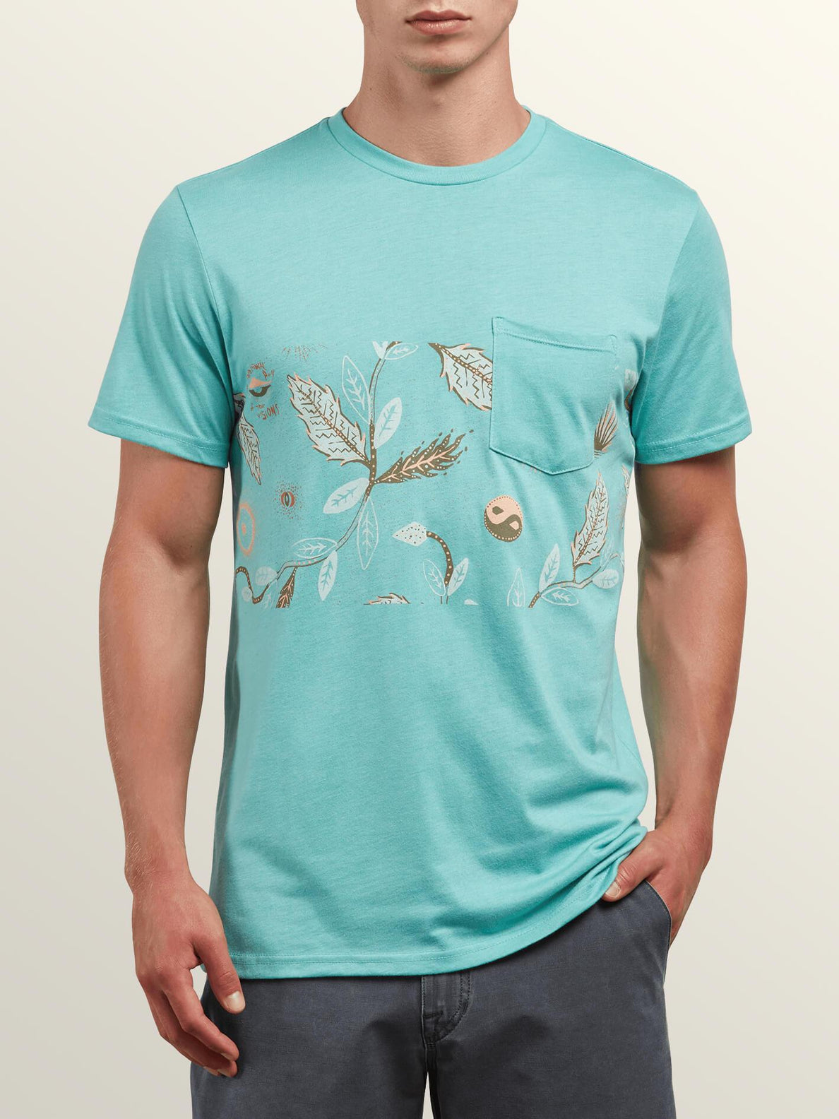 Sea-weed Short Sleeve Pocket Tee In Turquoise, Front View