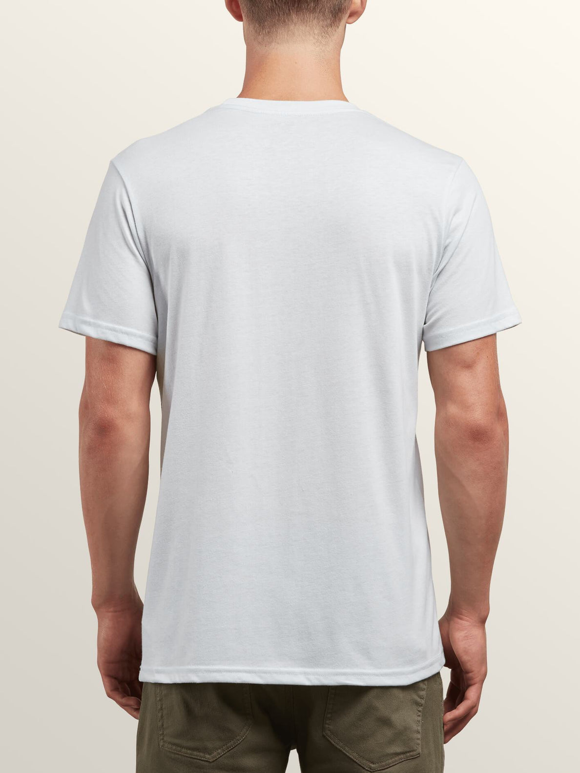 Sea-weed Short Sleeve Pocket Tee In White, Back View