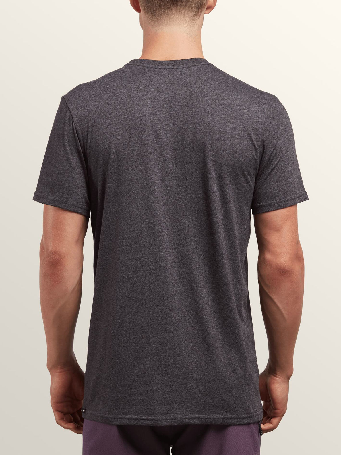 Bold Short Sleeve Tee In Heather Black, Back View