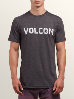 Bold Short Sleeve Tee In Heather Black, Front View