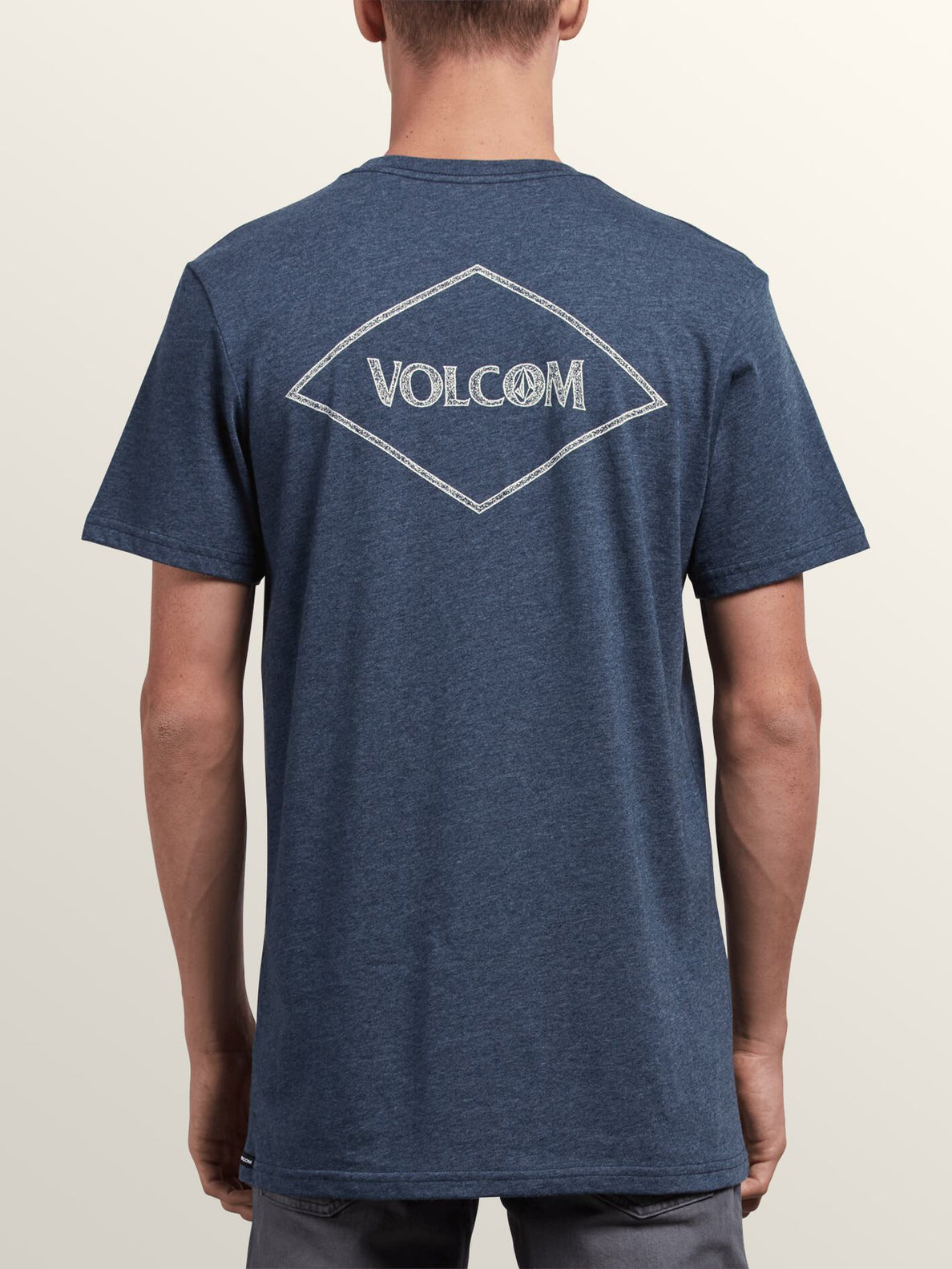 Center Short Sleeve Pocket Tee In Navy, Back View