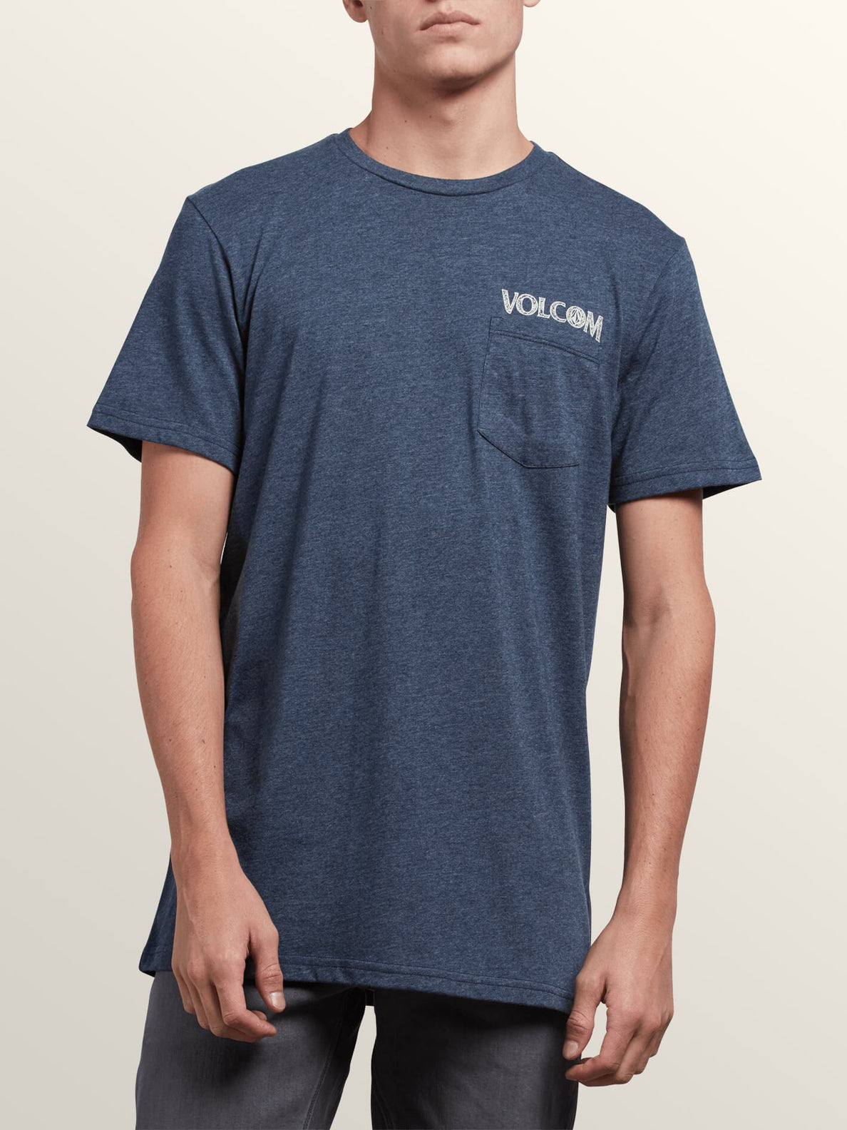 Center Short Sleeve Pocket Tee In Navy, Front View