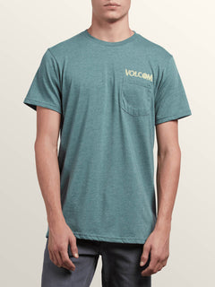 Center Short Sleeve Pocket Tee In Pine, Front View