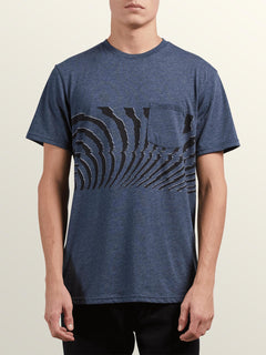 Macaw Short Sleeve Pocket Tee In Navy, Front View