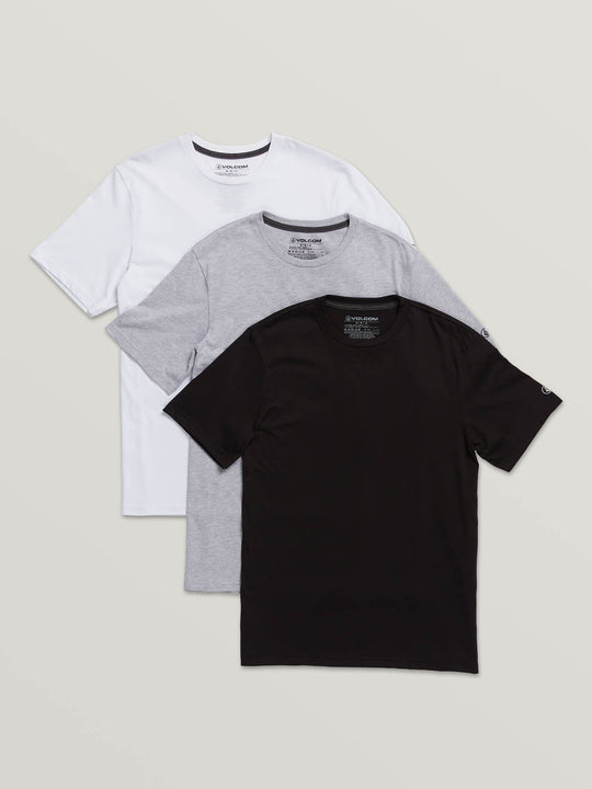 3 Pack Solid Short Sleeve Tees In Assorted, Front View