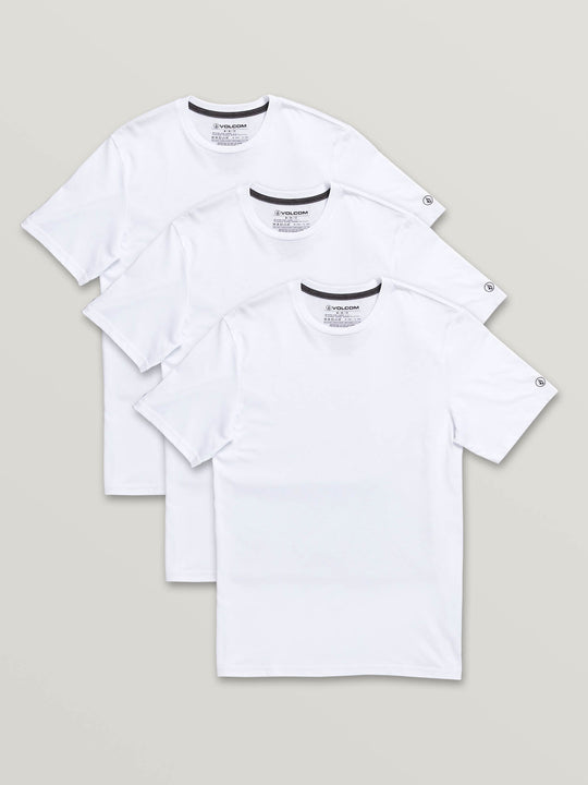 3 Pack Solid Short Sleeve Tees In White, Front View