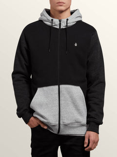 Single Stone Lined Zip Hoodie In Black Combo, Front View