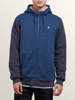Single Stone Lined Zip Hoodie In Matured Blue, Front View