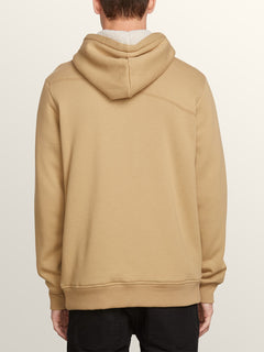 Single Stone Lined Zip Hoodie In Sand Brown, Back View